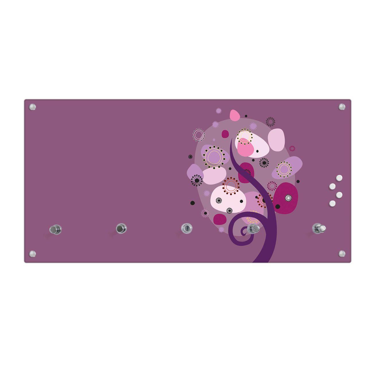banjado Garderobenpaneele 80x40cm 5 Haken Echtglas Garderobe Violet Element