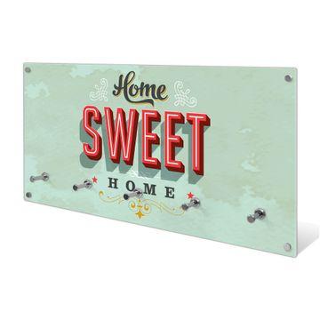 Garderobe aus Glas Motiv Home Sweet Home