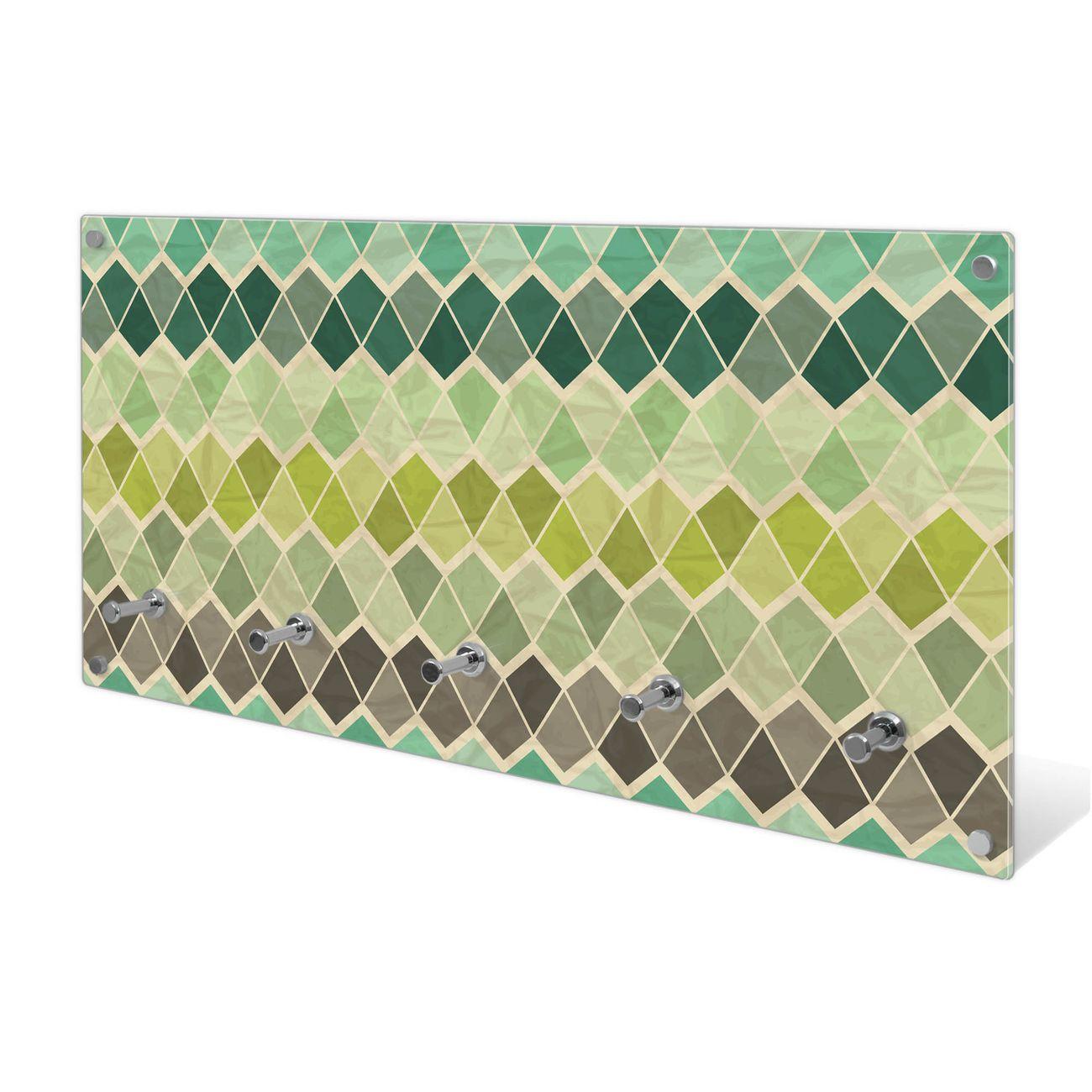 Garderobe aus Glas Motiv Vier Farben Grün
