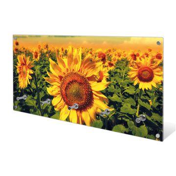 Garderobe aus Glas Motiv Sonnenblumen
