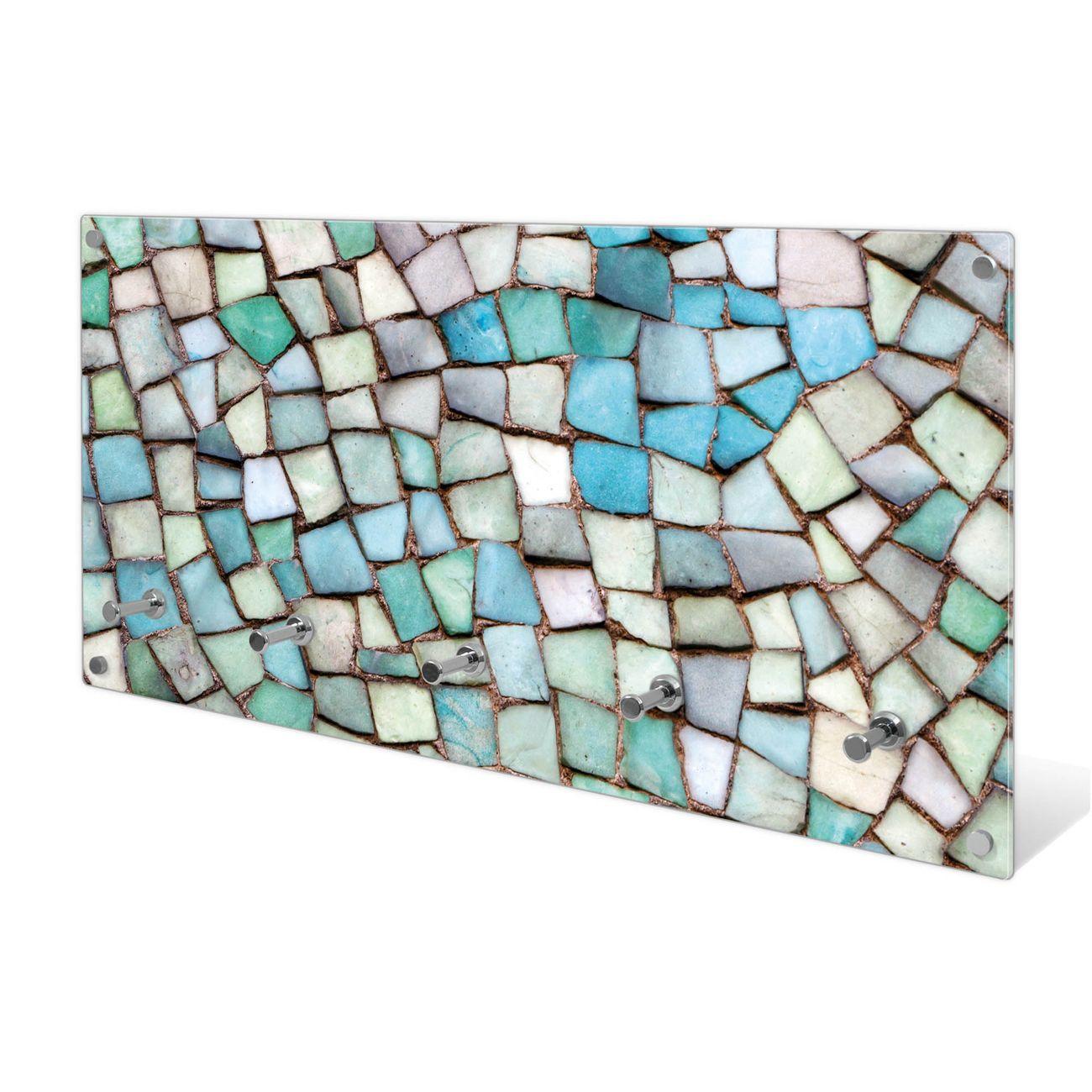 Garderobe aus Glas Motiv Mosaik Blau