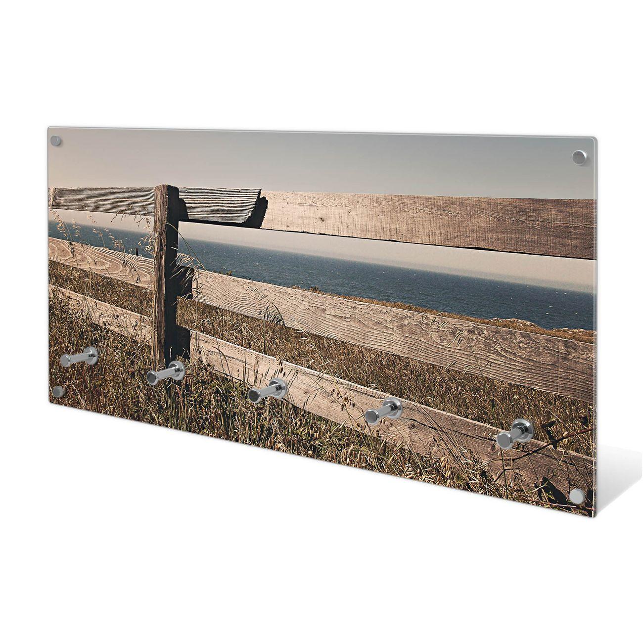 Garderobe aus Glas Motiv Zaun am Meer
