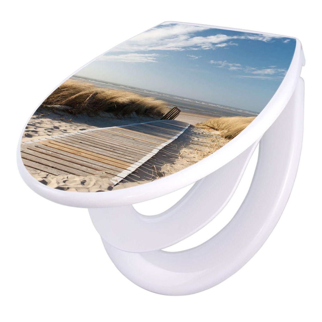 banjado Klodeckel weiß mit Absenkautomatik Toilettendeckel Dünen