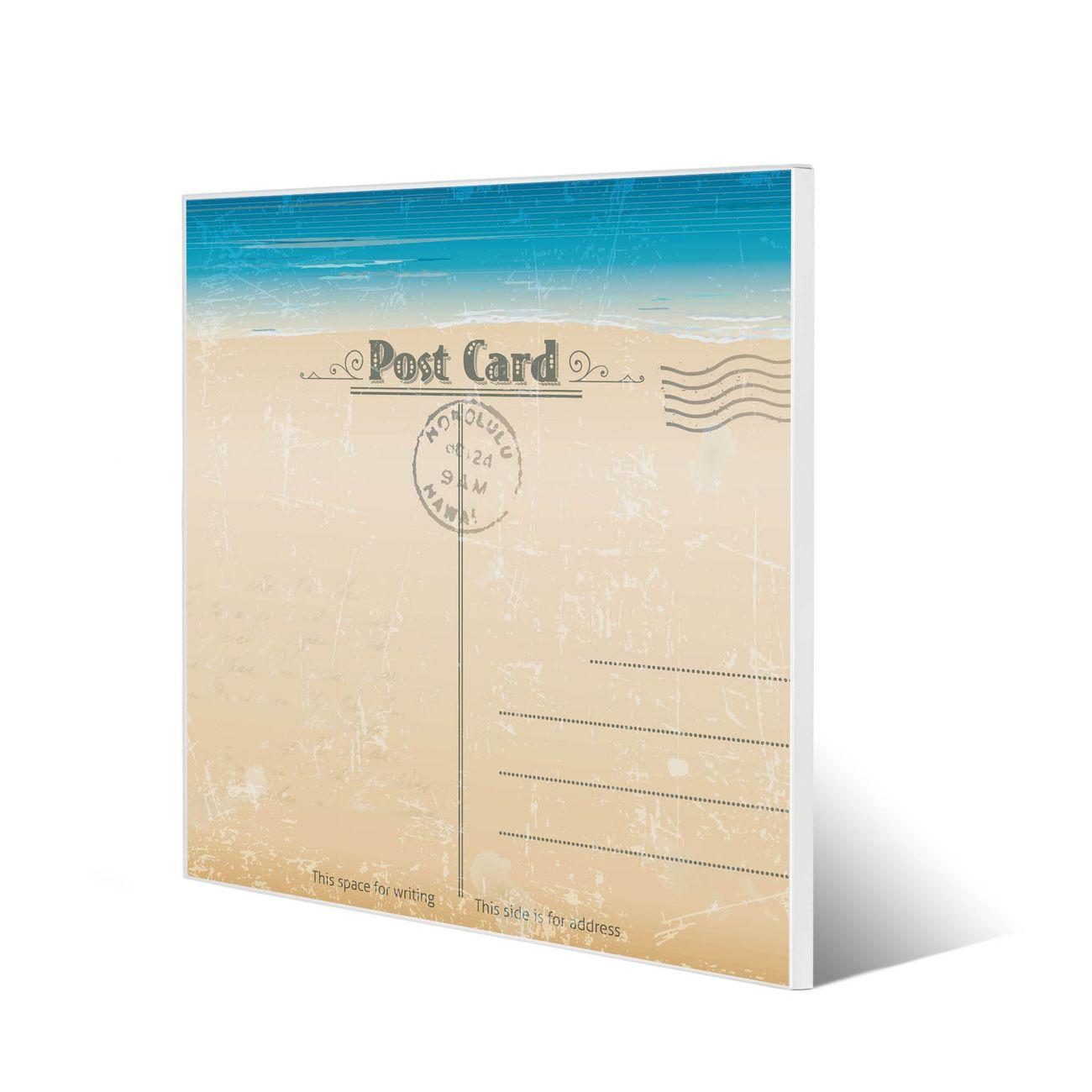 Stahl Magnettafel 50x50 Motiv Postkarte
