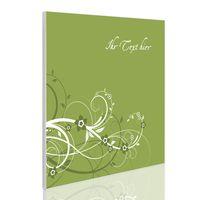 Quadratische Magnettafel weiß Grüne Blüten mit Wunschtext