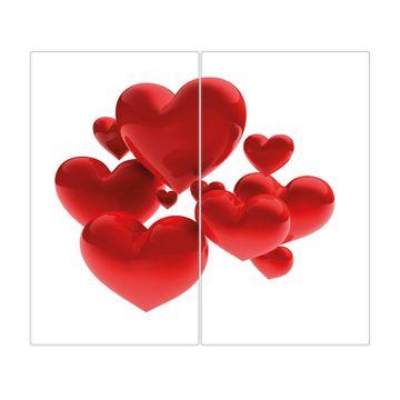 Herdabdeckplatte 1 und 2 teilig Motiv Fliegende Herzen
