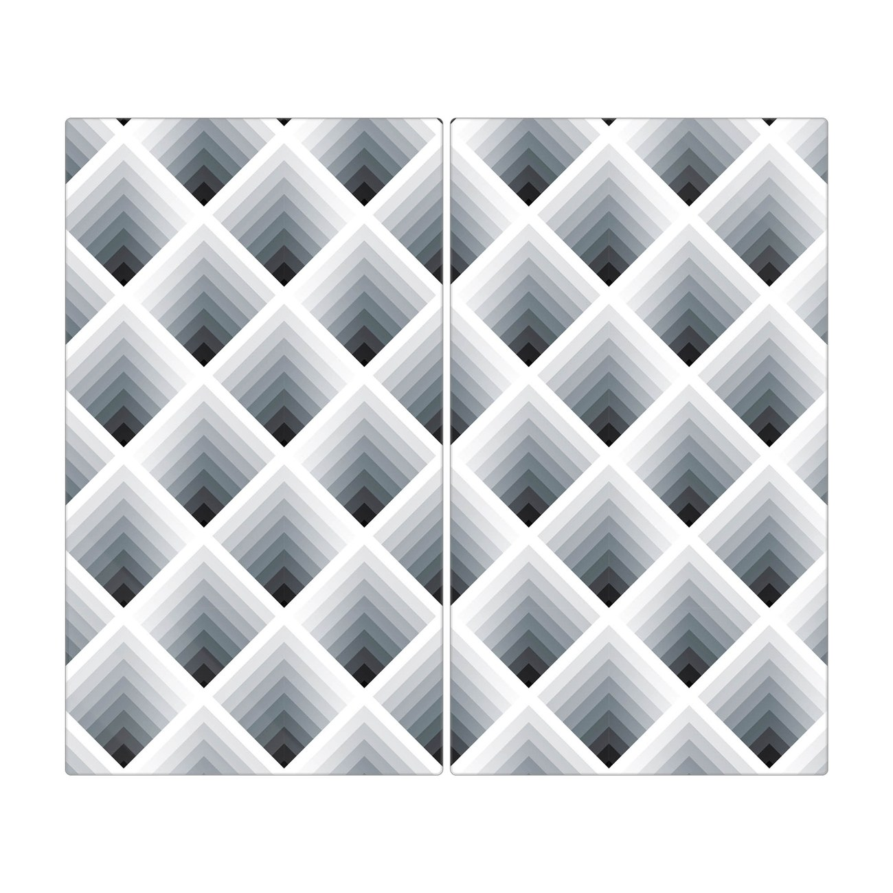 Herdabdeckplatte 1 und 2 teilig Motiv Raster 3D Grau