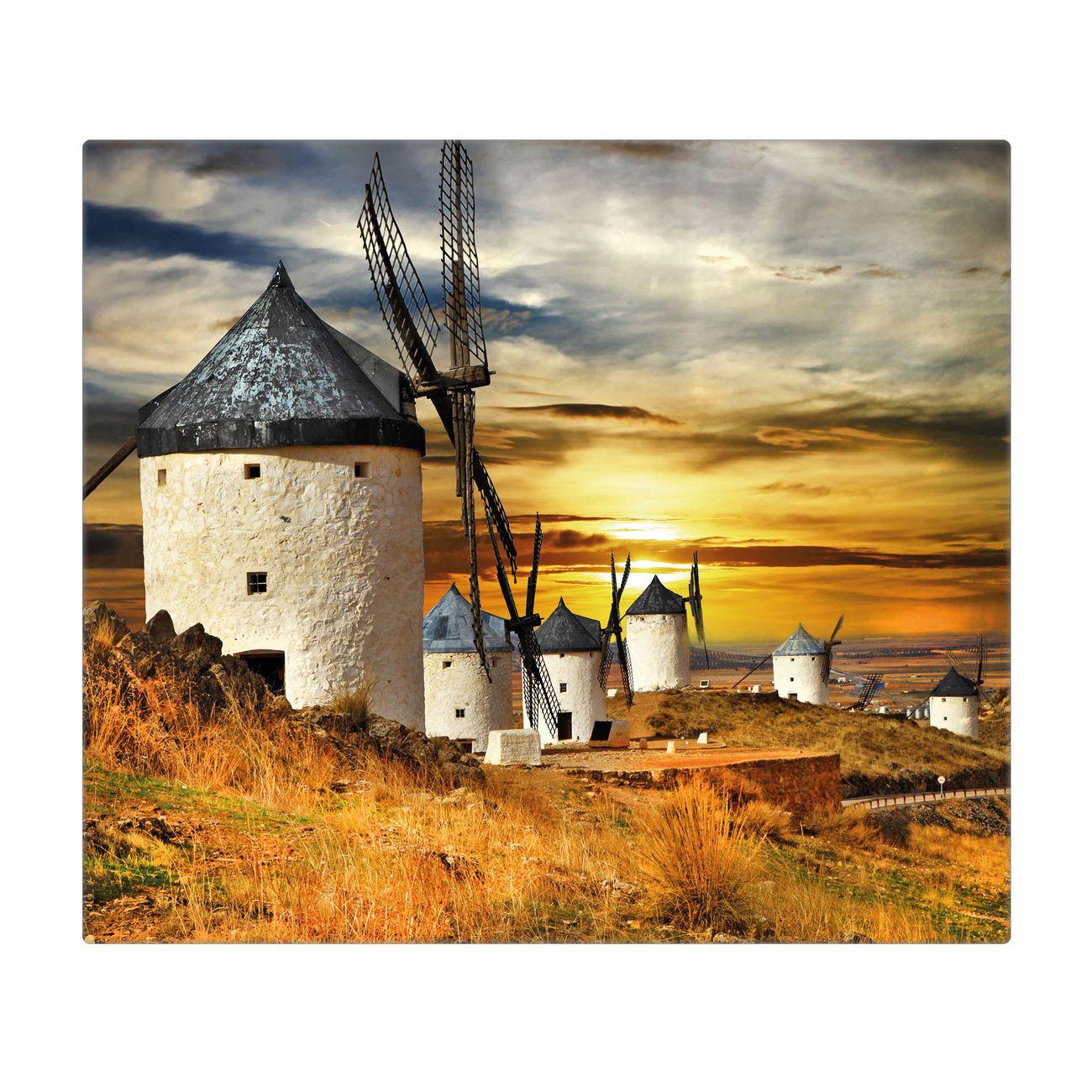 Herdabdeckplatte 1 und 2 teilig Motiv Spanische Windmühlen