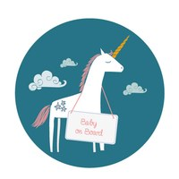 Sticker Baby on Board Einhorn Jungen