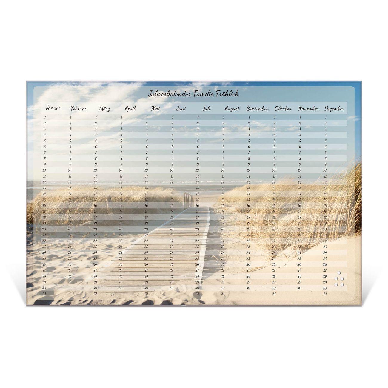 Wandkalender aus Glas verschiedene Größen Motiv Steg zum Meer