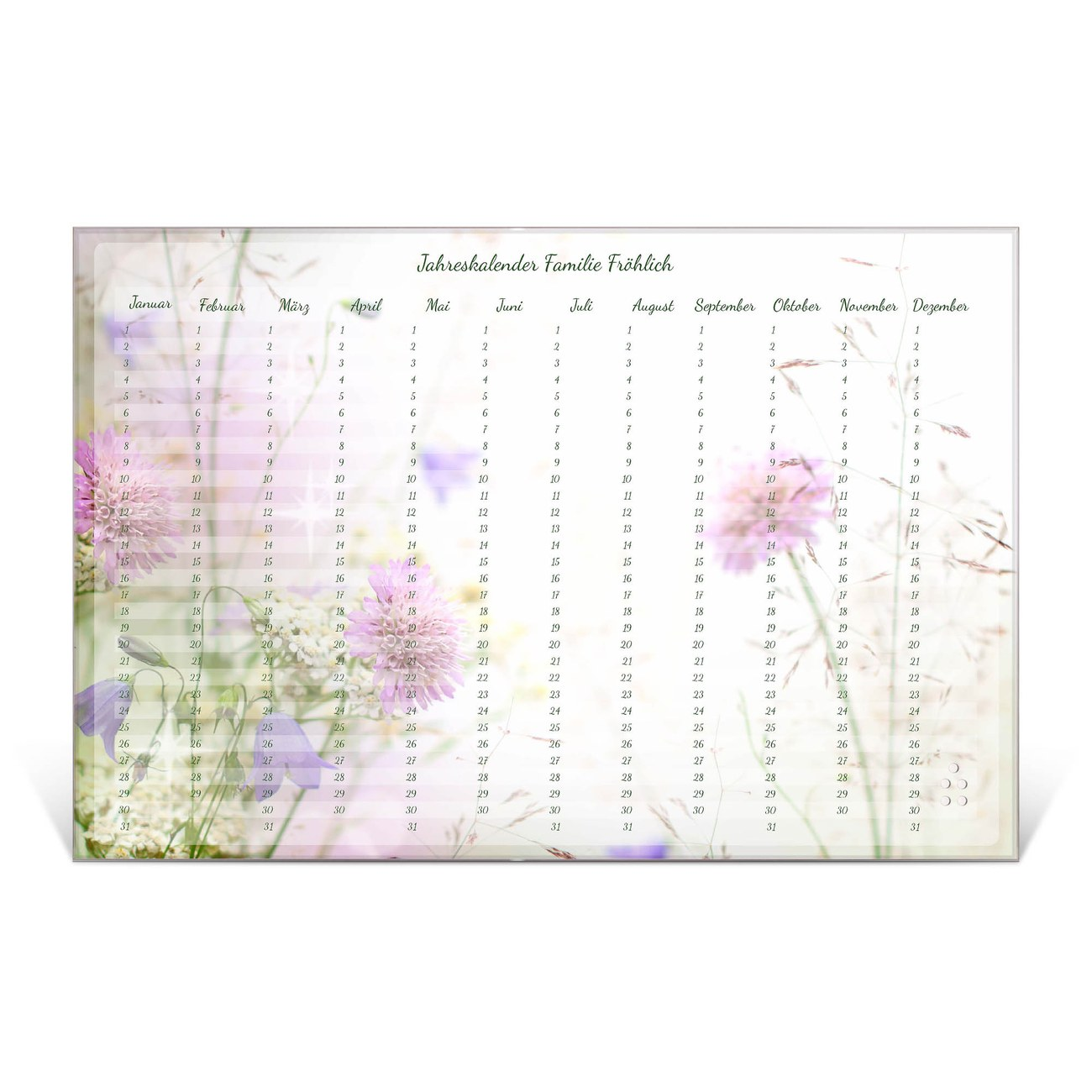 Wandkalender aus Glas verschiedene Größen Motiv Frühlingsblüher