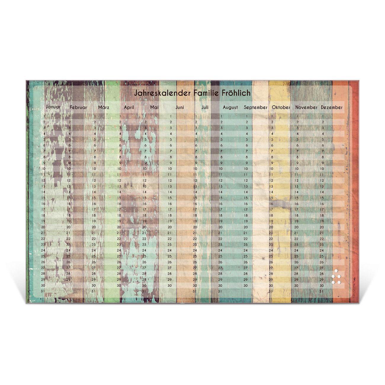 Wandkalender aus Glas verschiedene Größen Motiv Vintage Bretterwand