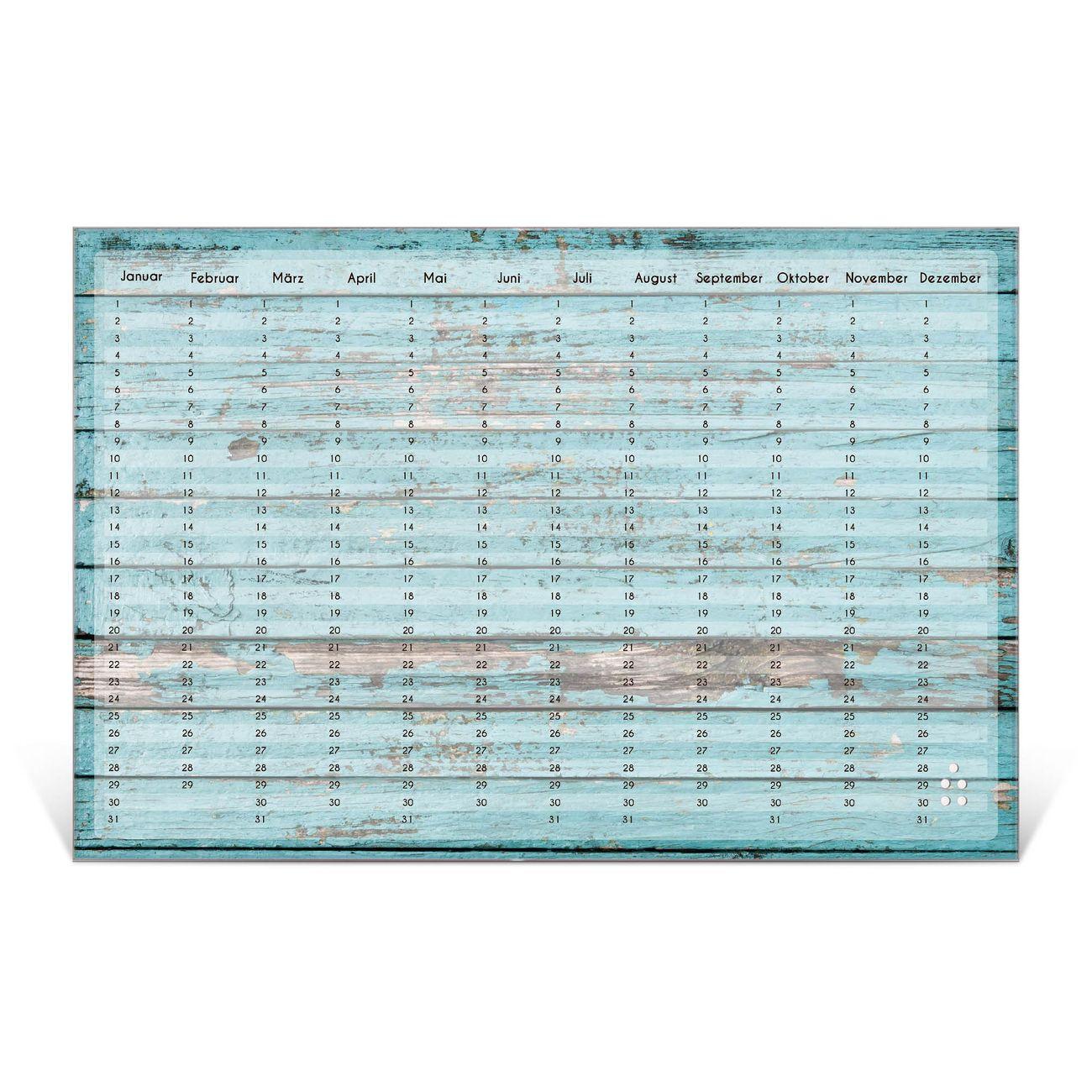Wandkalender aus Glas verschiedene Größen Motiv Alte Bretter Blau