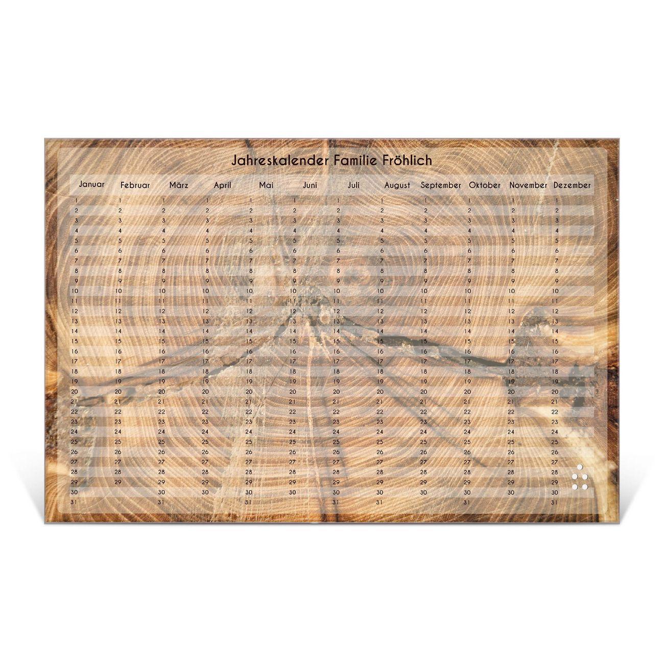 Wandkalender aus Glas verschiedene Größen Motiv Jahresringe