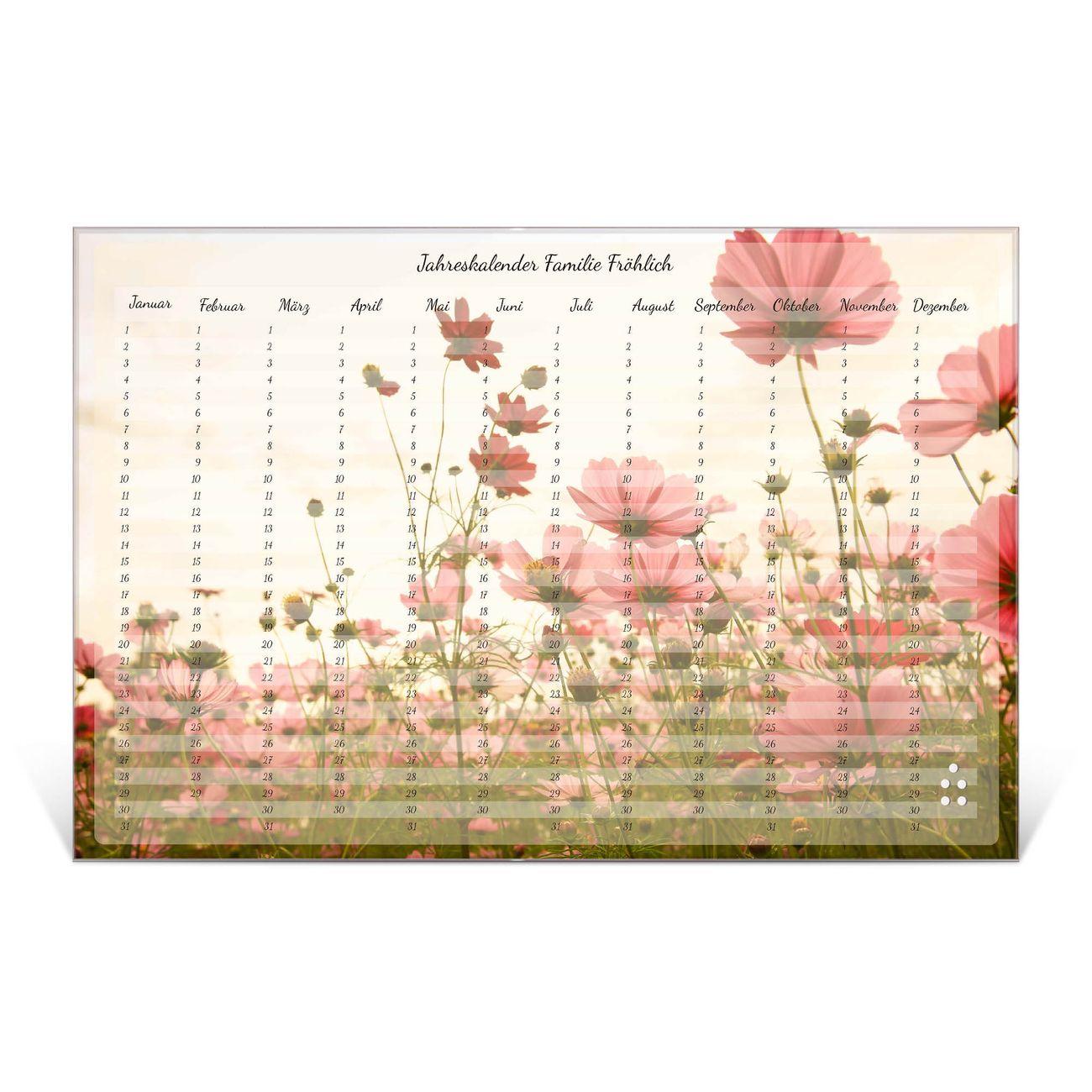 Wandkalender aus Glas verschiedene Größen Motiv Blumenmeer