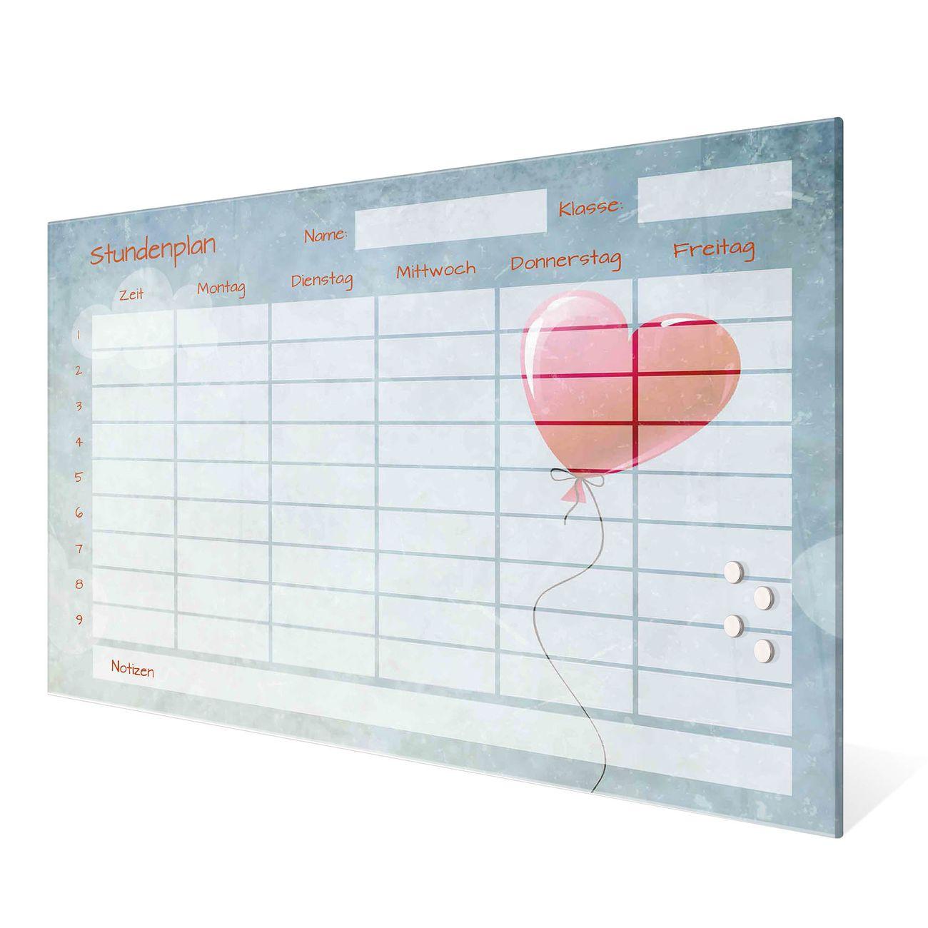 Stundenplan aus Glas Motiv Herzballon – Bild 1