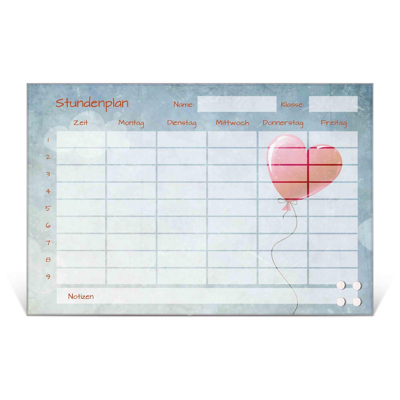 Stundenplan aus Glas Motiv Herzballon