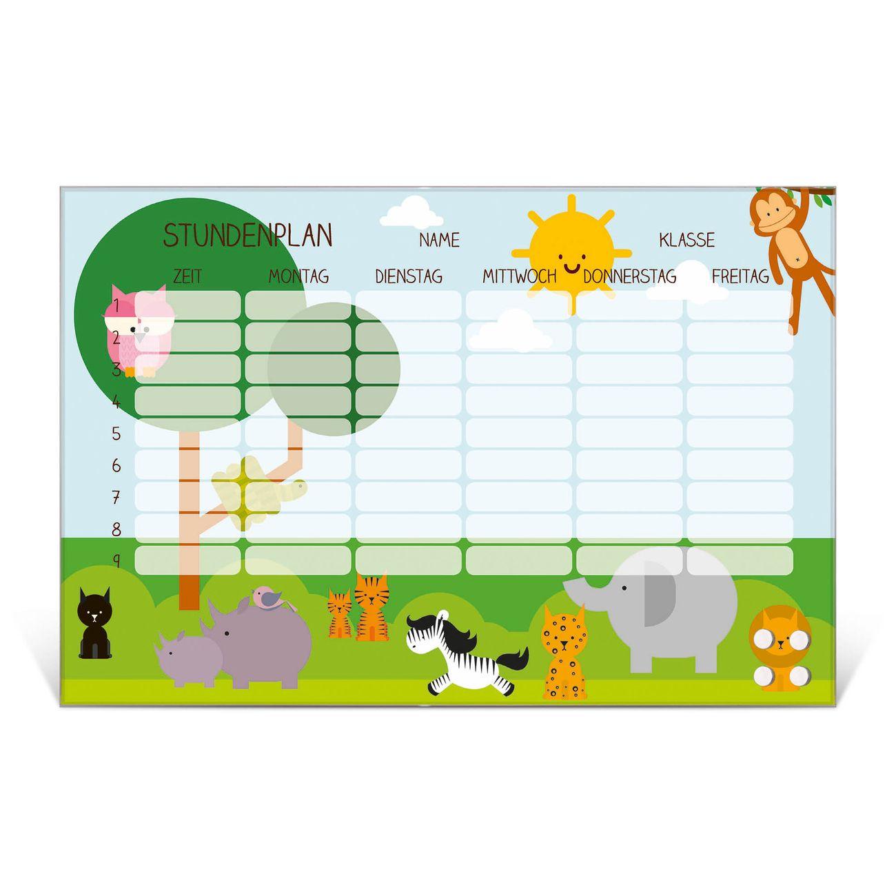 Stundenplan aus Glas Motiv Wilde Tiere
