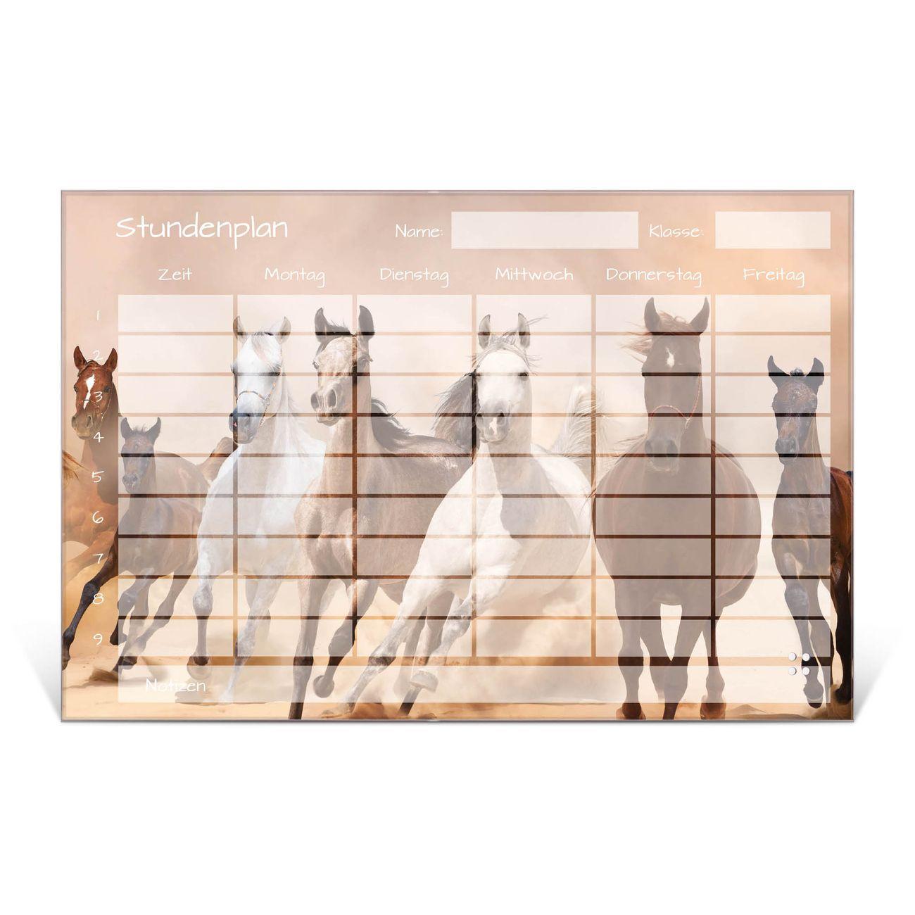 Stundenplan aus Glas Motiv Wild Pferde