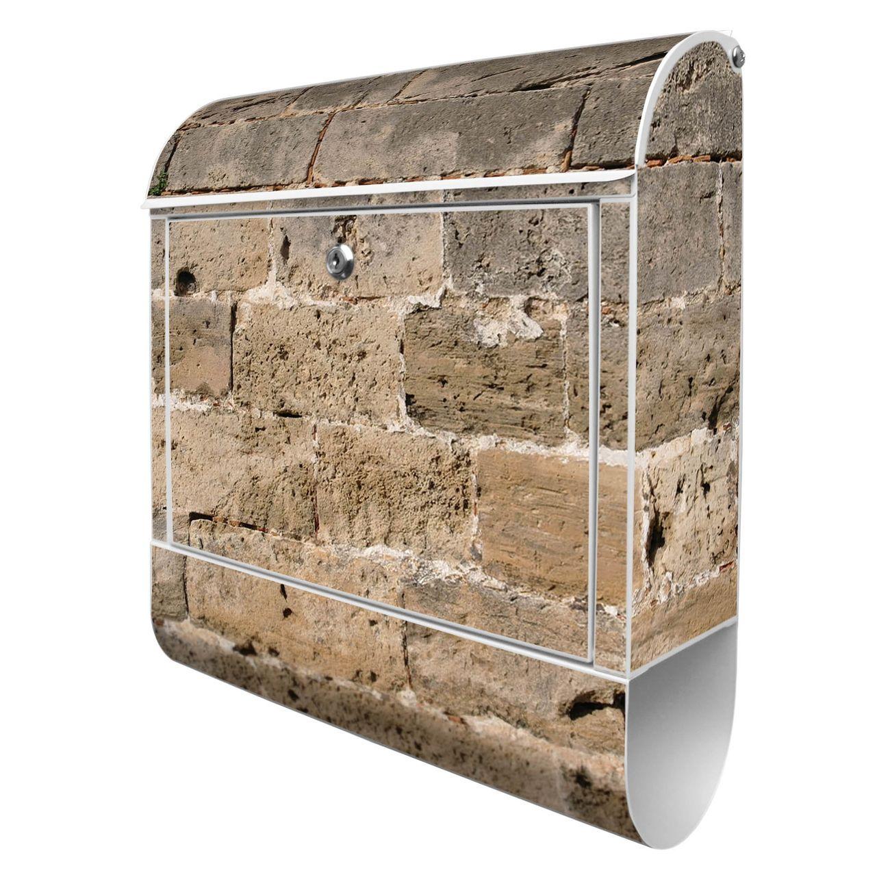 Großer Stahl Briefkasten Steinwand Antik