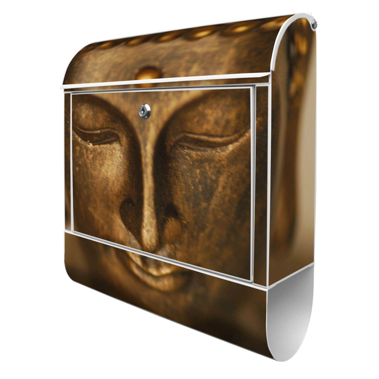Großer Stahl Briefkasten Buddha Gold