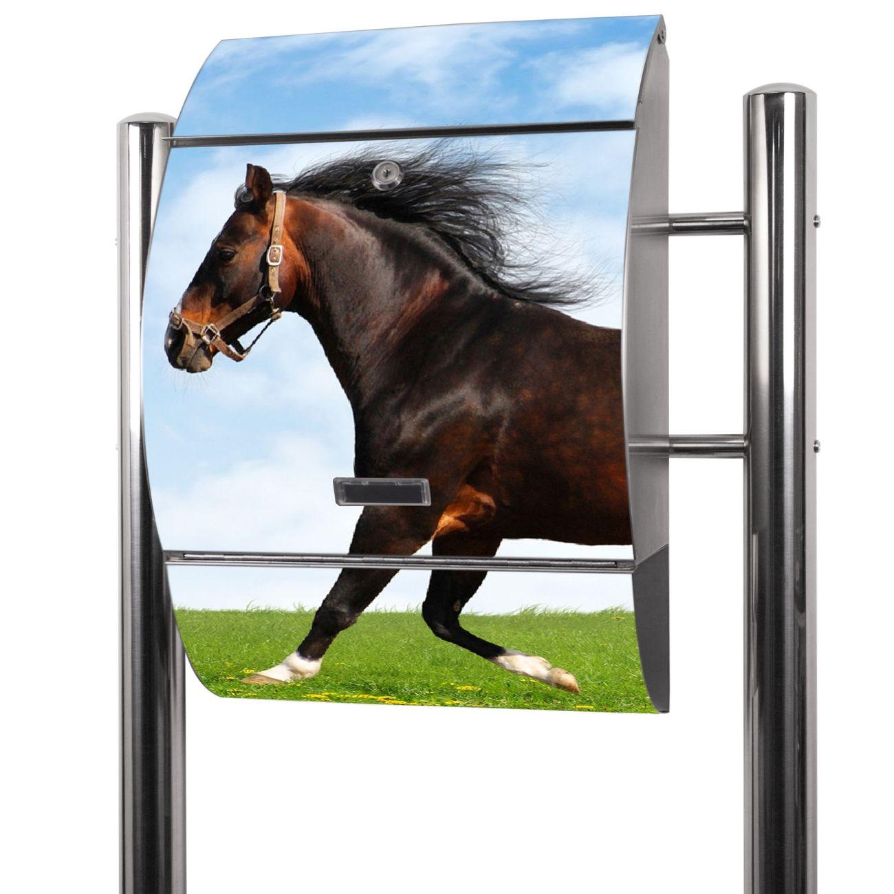 Edelstahl Standbriefkasten Pferd