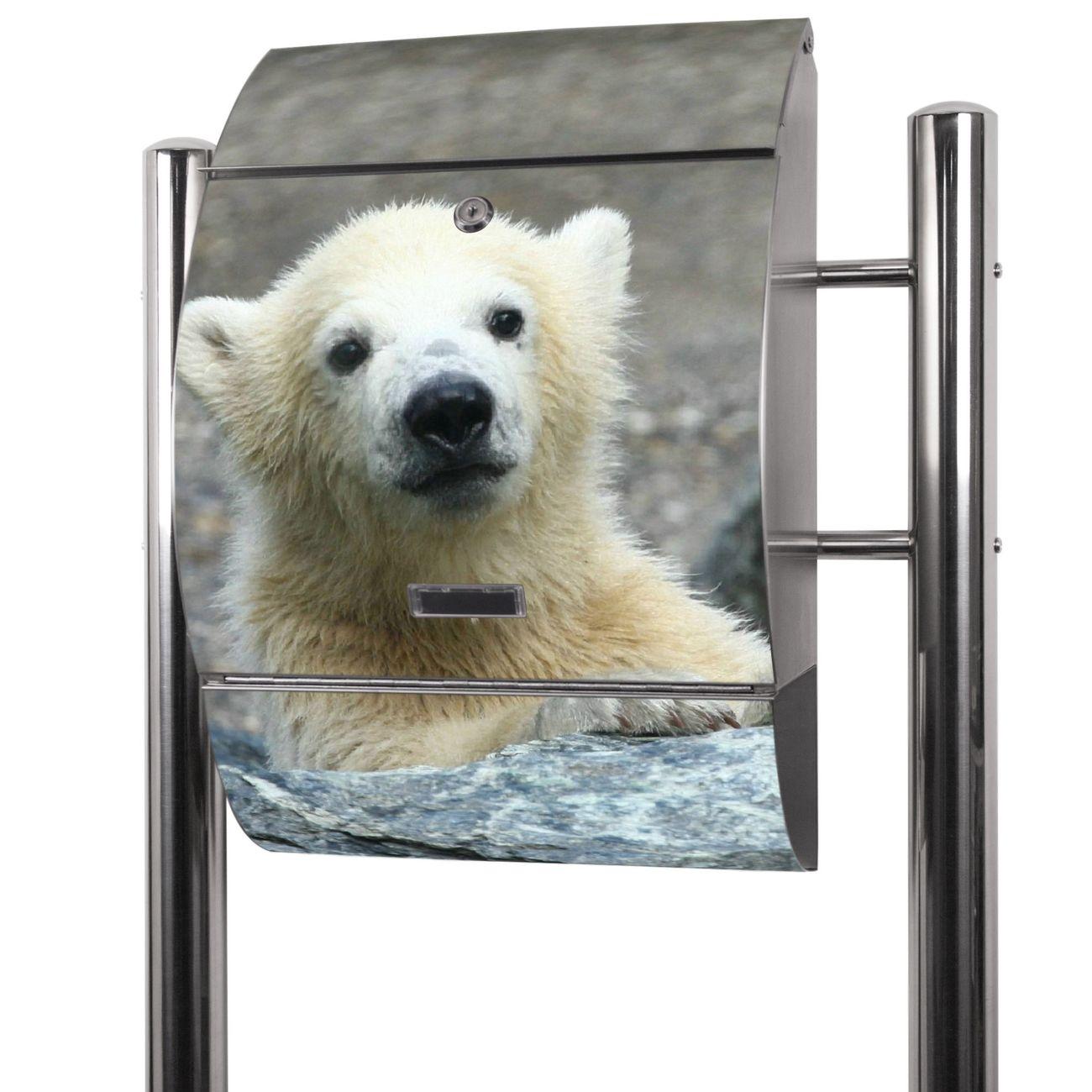 Edelstahl Standbriefkasten Eisbär Baby