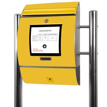 Edelstahl Standbriefkasten Briefkasten Gelb