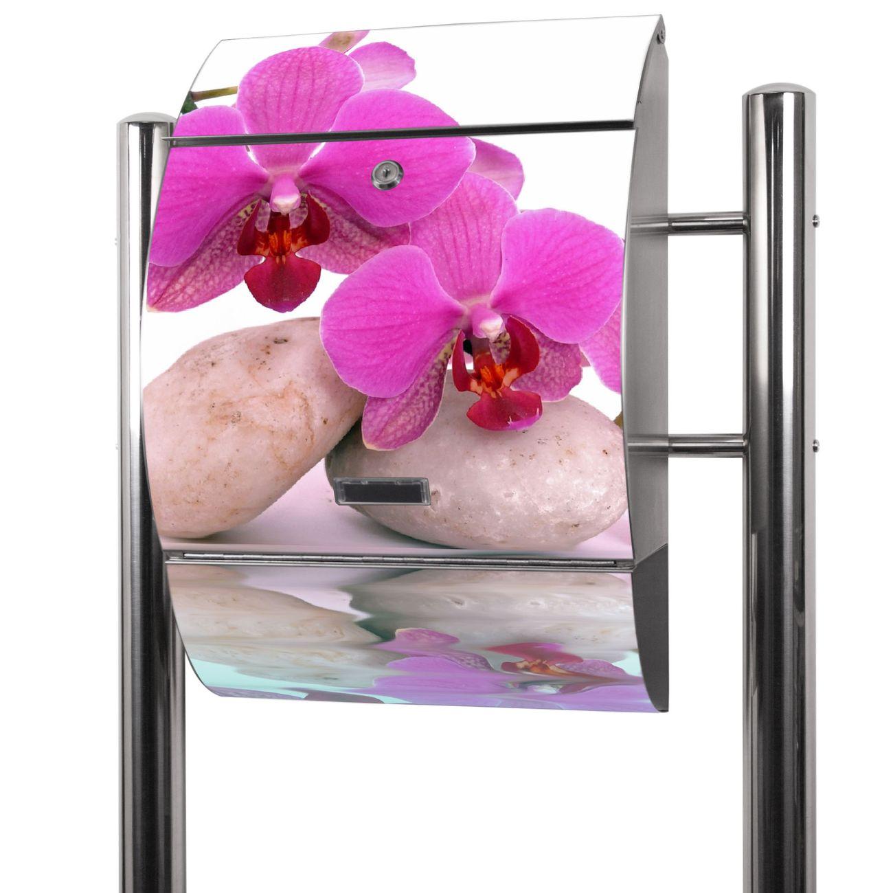 Edelstahl Standbriefkasten Orchidee