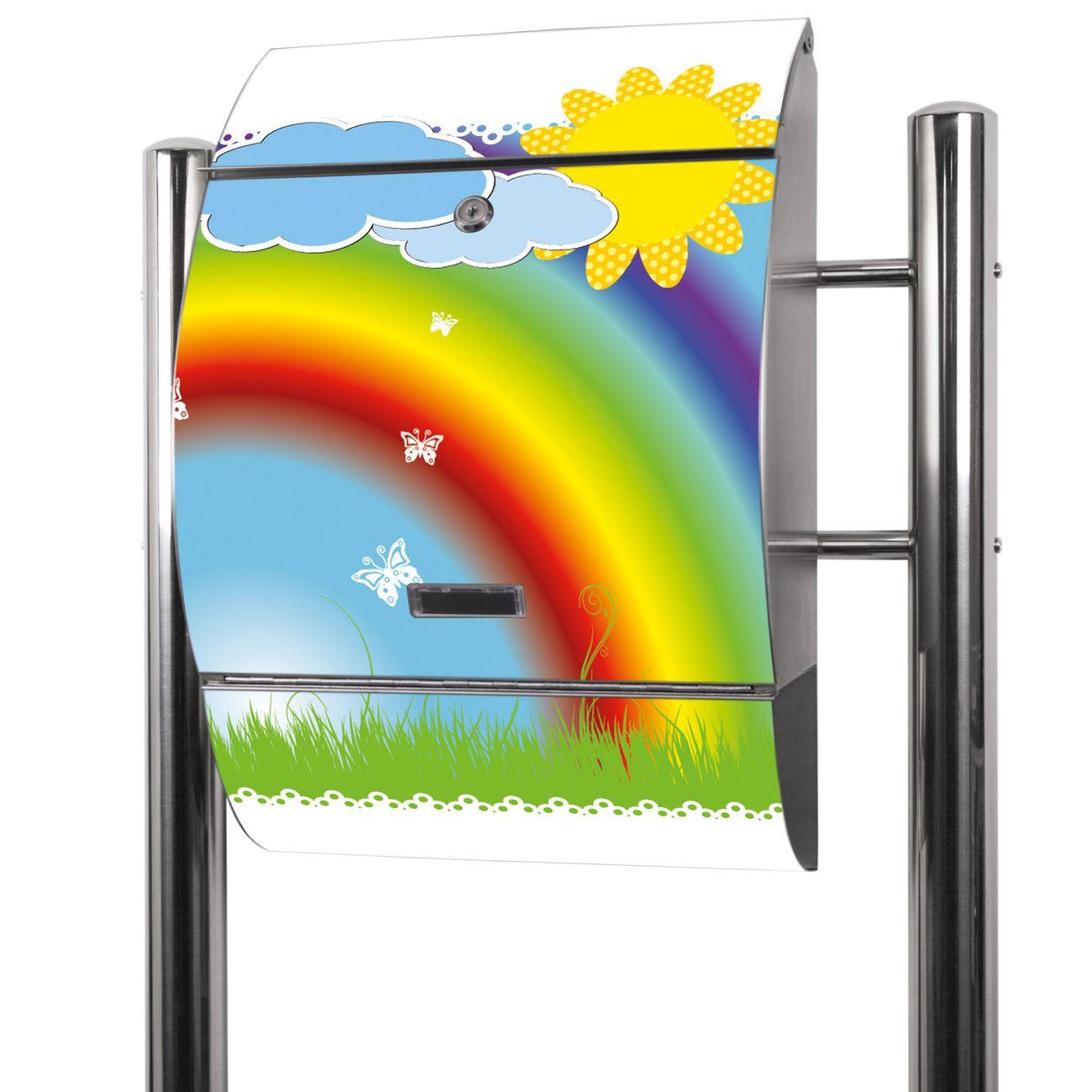 Edelstahl Standbriefkasten Regenbogen