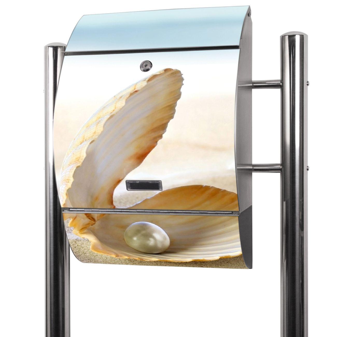 Edelstahl Standbriefkasten Perlenmuschel