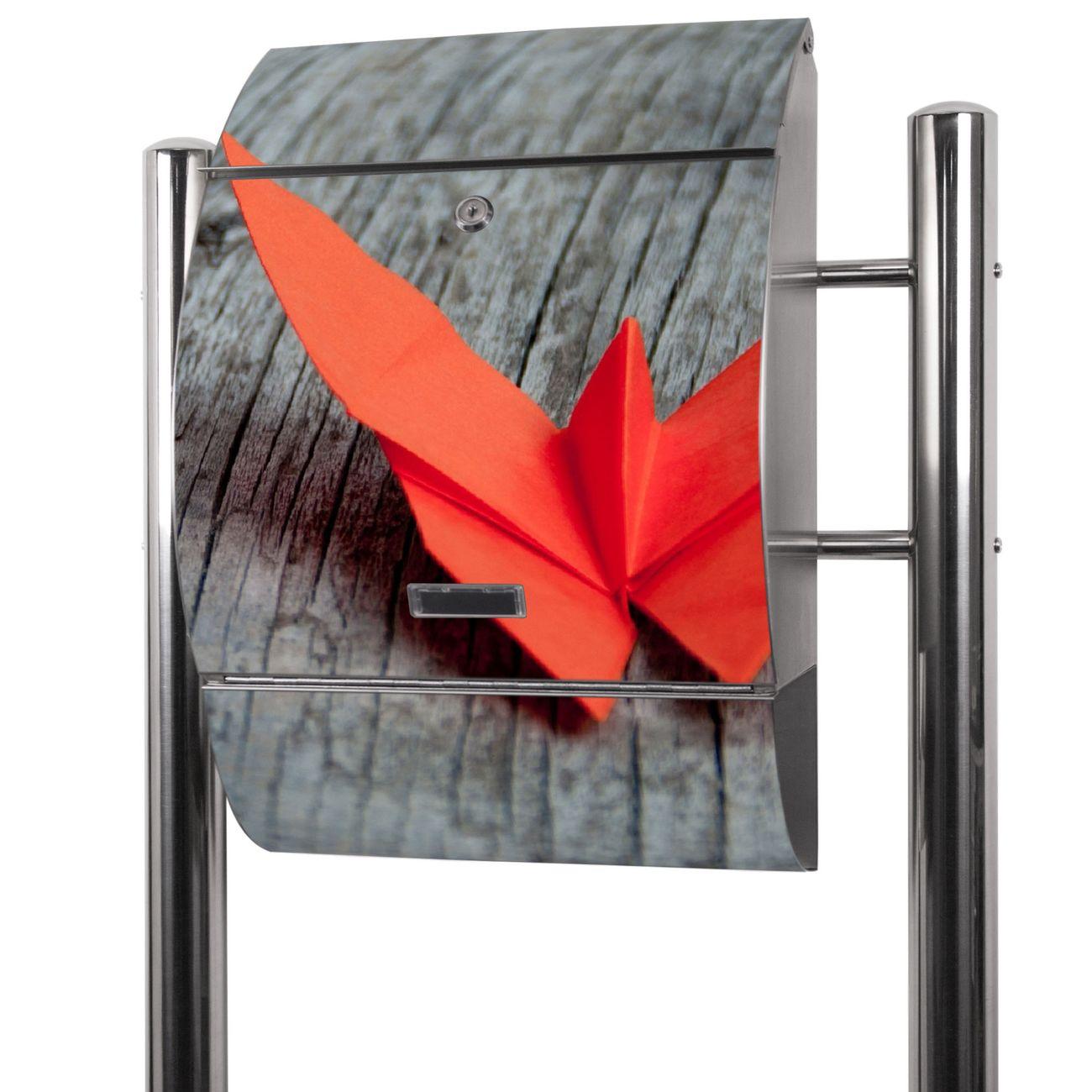 Edelstahl Standbriefkasten Origami Schmetterling