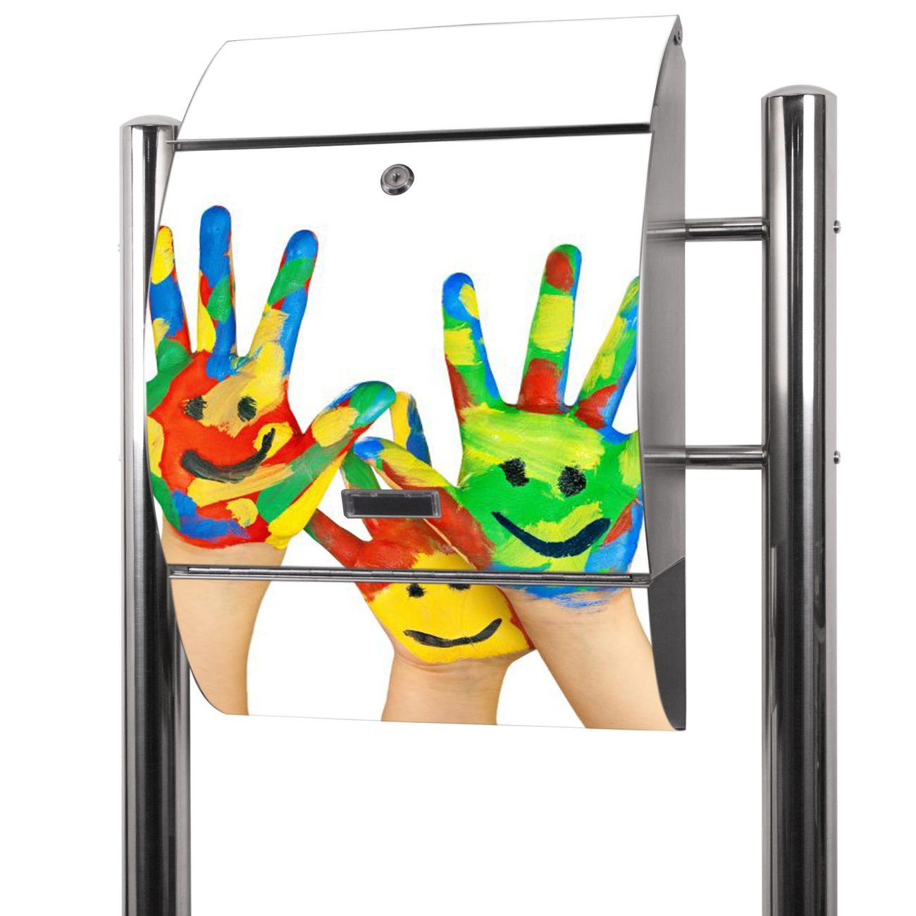 Edelstahl Standbriefkasten Happy Hands