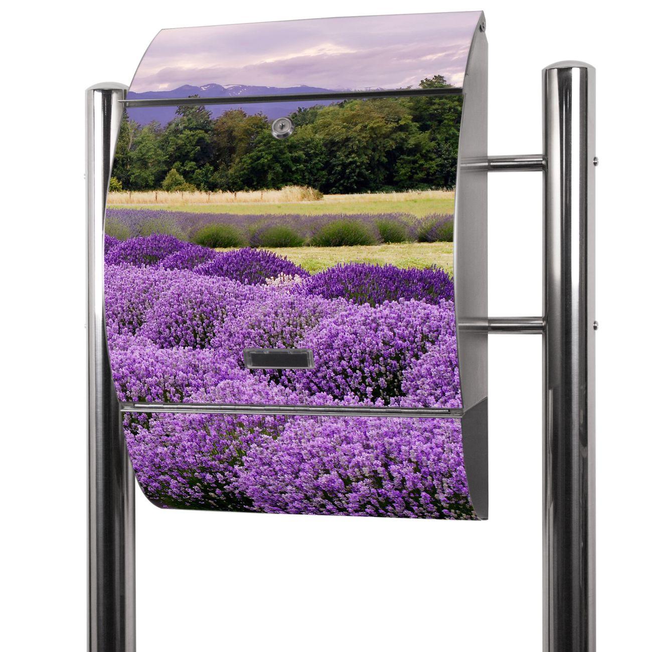 Edelstahl Standbriefkasten Lavendel