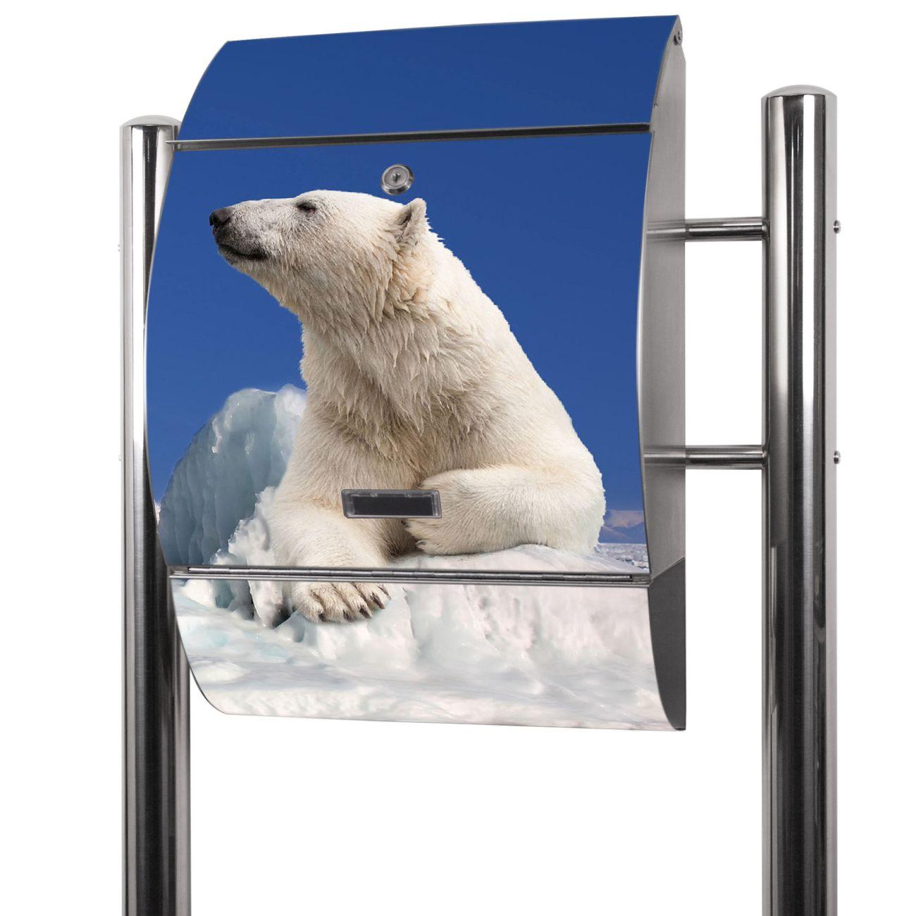 Edelstahl Standbriefkasten Ruhender Eisbär