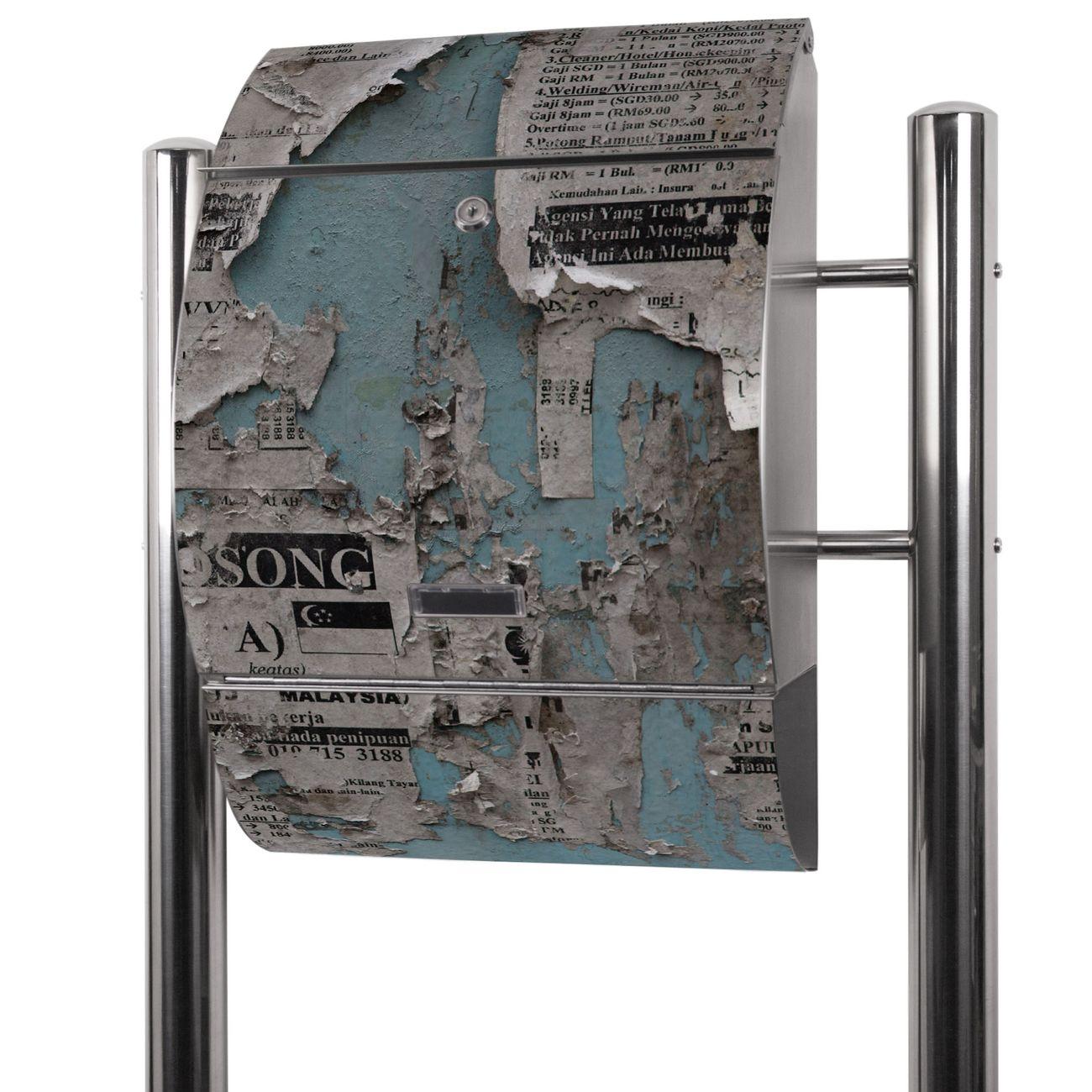Edelstahl Standbriefkasten Wand mit Zeitungen