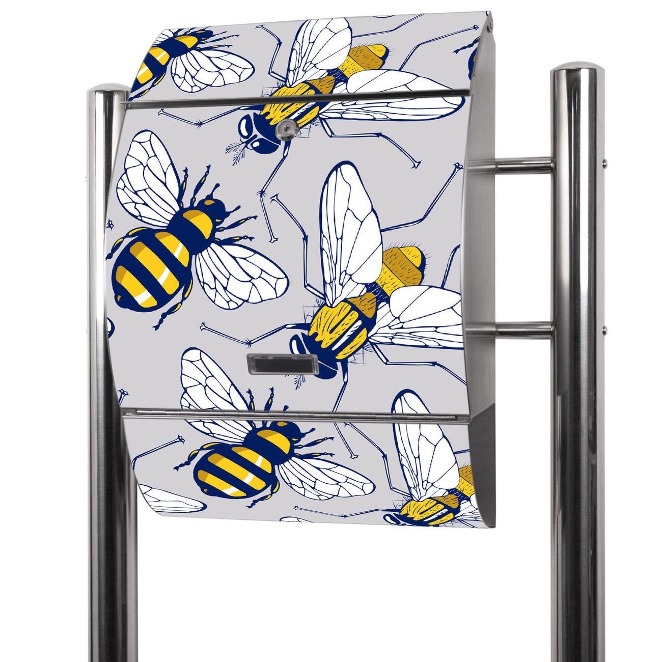 Edelstahl Standbriefkasten Fliegen und Bienen