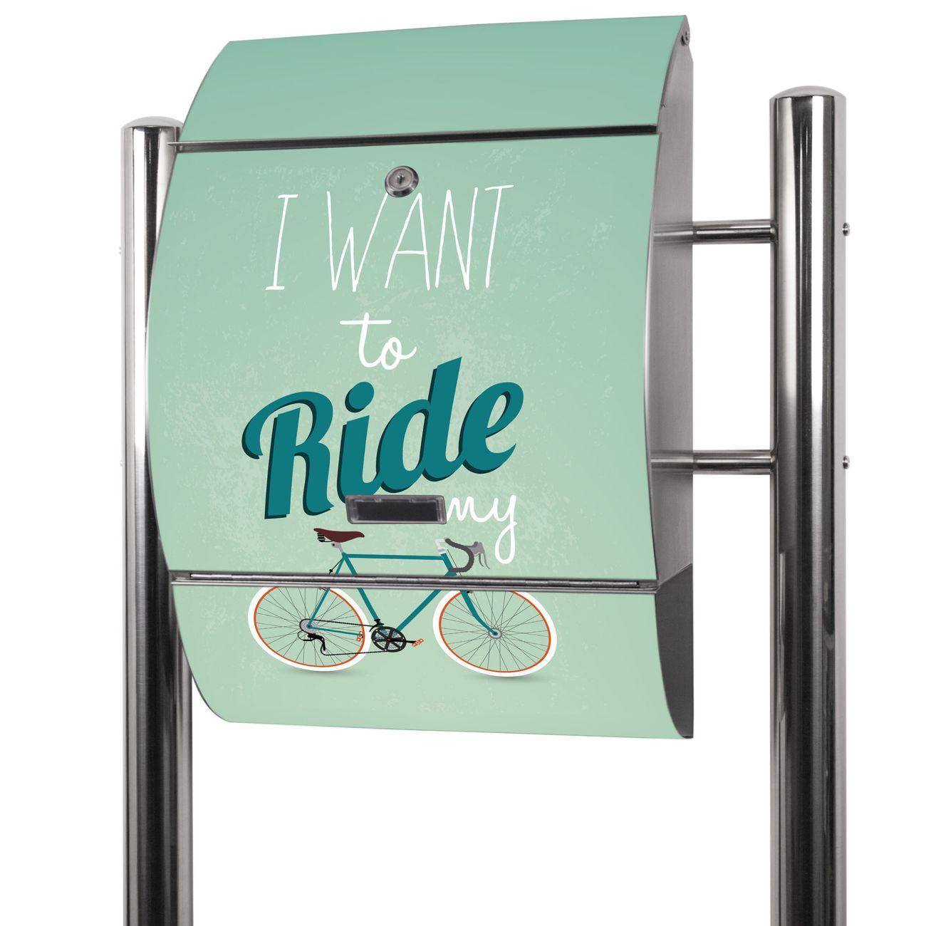 Edelstahl Standbriefkasten I want to ride my bike