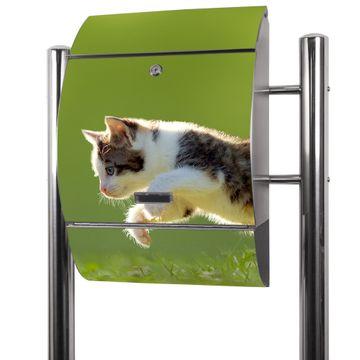 Edelstahl Standbriefkasten Jagende Katze