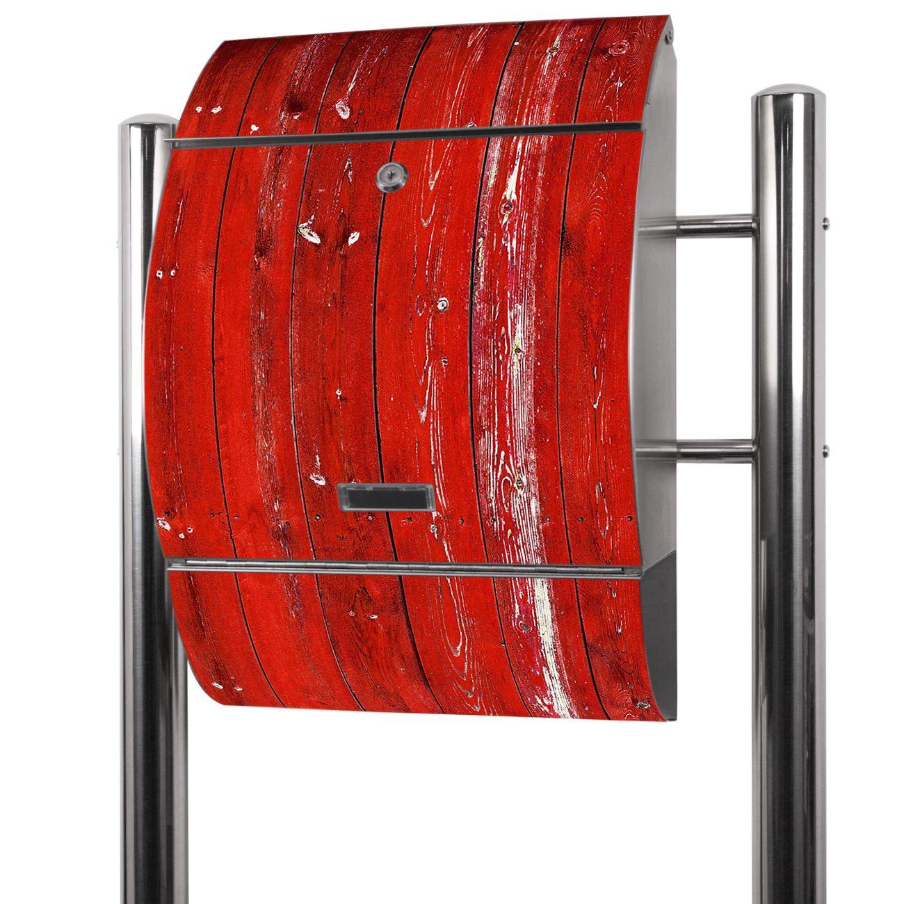 Edelstahl Standbriefkasten Rote Holzlatten