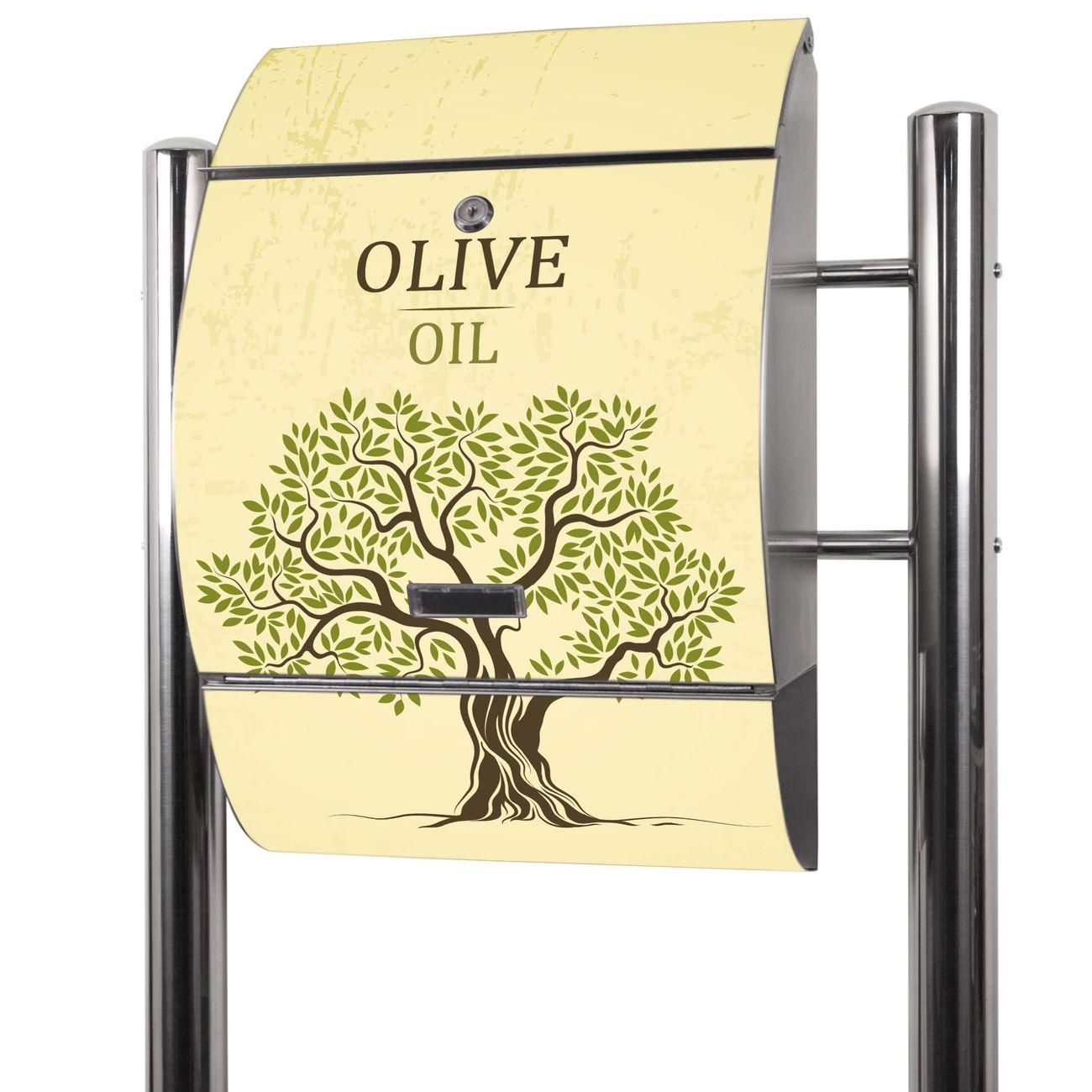 Edelstahl Standbriefkasten Olivenbaum