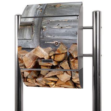 Edelstahl Standbriefkasten Feuerholz