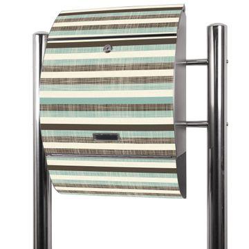 Edelstahl Standbriefkasten Textile Streifen