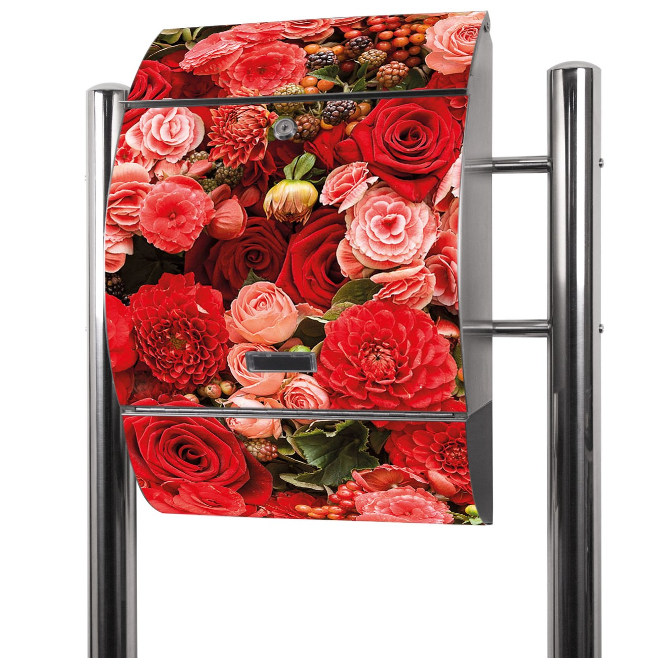 Edelstahl Standbriefkasten Bouquet in Rot
