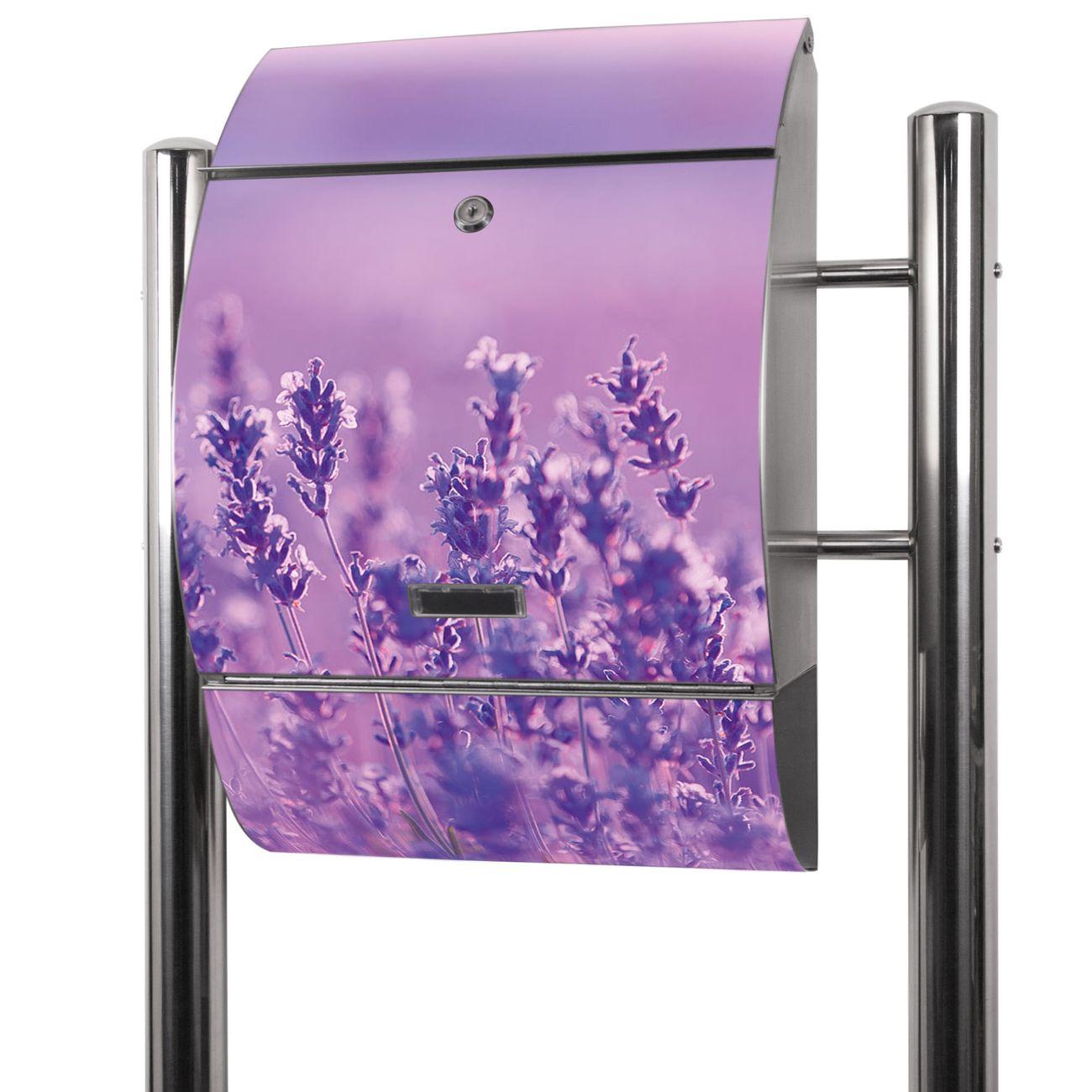 Edelstahl Standbriefkasten Lavendelmeer