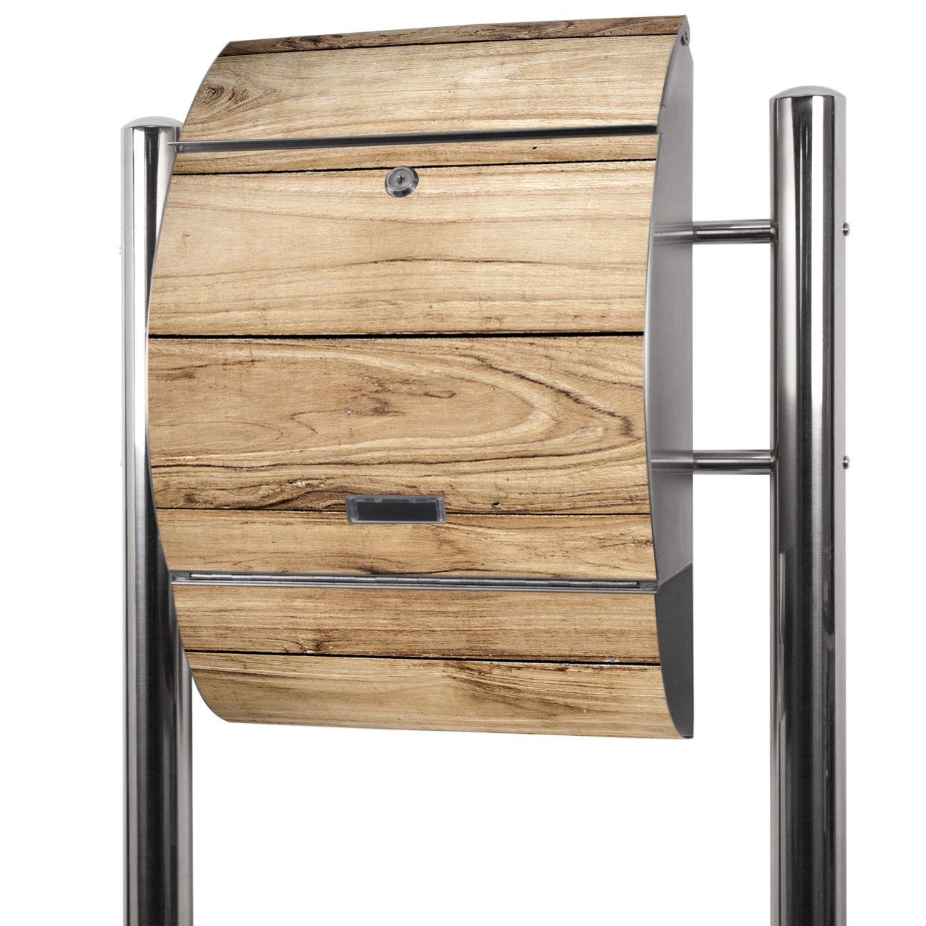Edelstahl Standbriefkasten Holzplanken