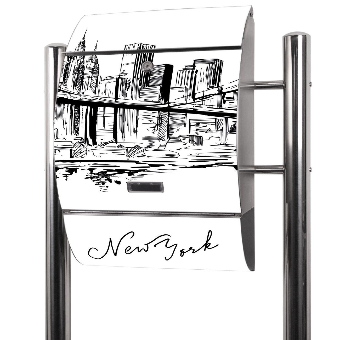 Edelstahl Standbriefkasten New York Skizze
