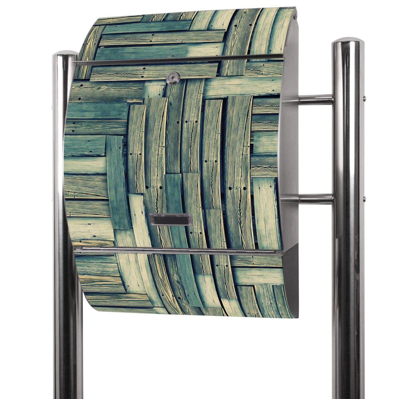 Edelstahl Standbriefkasten Grüne Planken