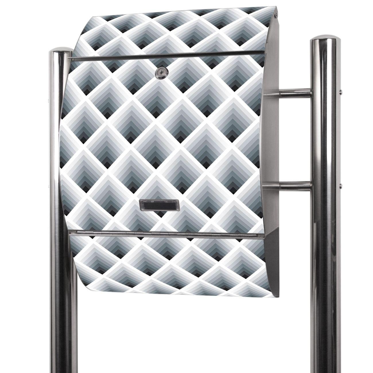 Edelstahl Standbriefkasten Raster 3D Grau