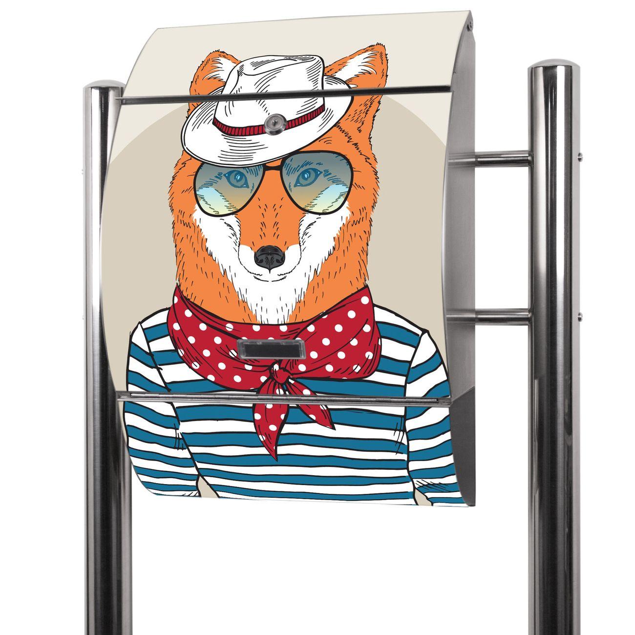 Edelstahl Standbriefkasten Fancy Fox